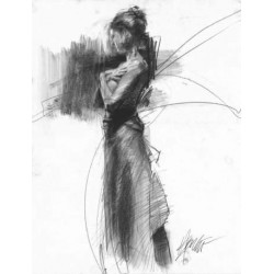 Henry Asencio - Evening`s Embrace- Charcoal Drawing