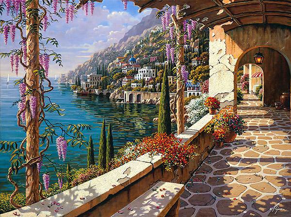 Villa In Capri Limited Edition Giclee Print By Bob Pejman